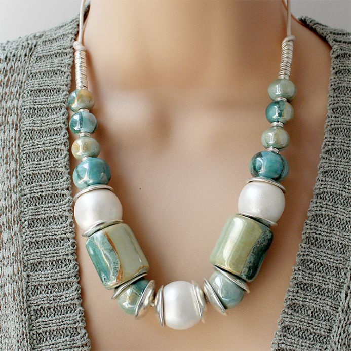 Greek Ceramic Chunky Necklace Aqua and Silver